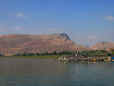 Mount Arbel from the Sea of Galilee