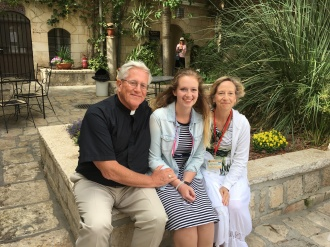 Murphy family in Christ Church Jerusalem courtyard
